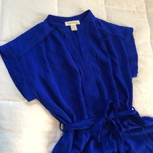 Royal Blue Monteau Tie Waist Dress